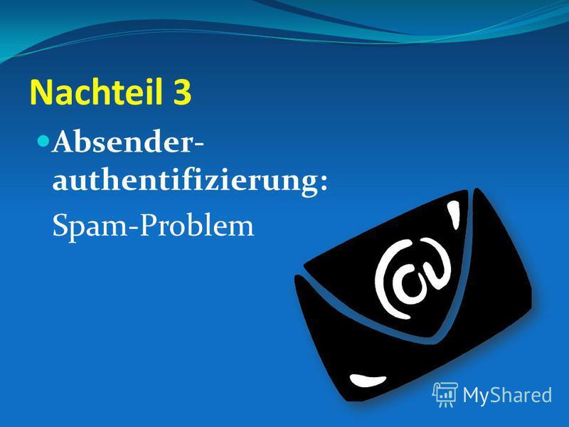 Nachteil 3 Absender- authentifizierung: Spam-Problem
