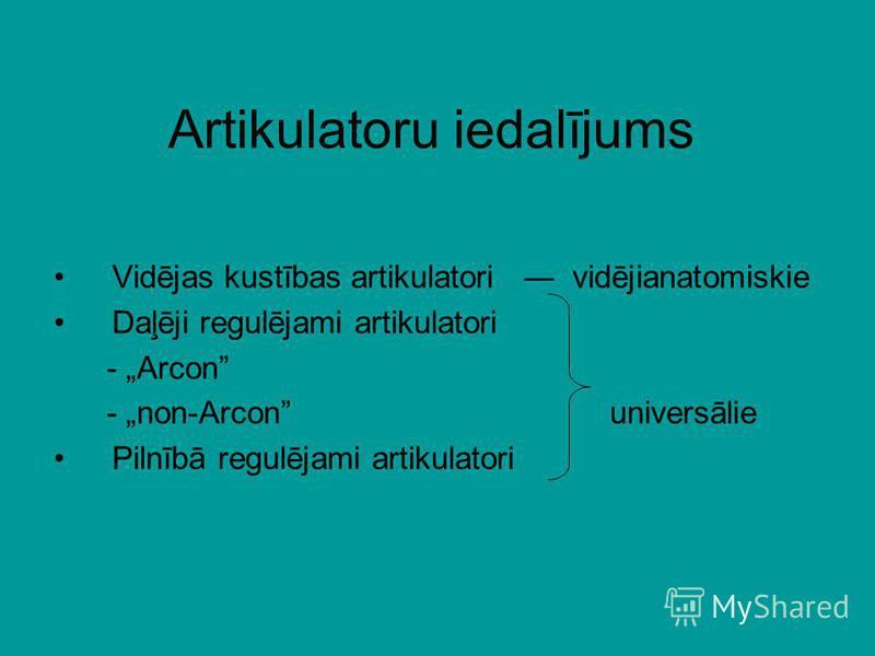 Artikulatoru iedalījums Vidējas kustības artikulatori vidējianatomiskie Daļēji regulējami artikulatori - Arcon - non-Arcon universālie Pilnībā regulējami artikulatori