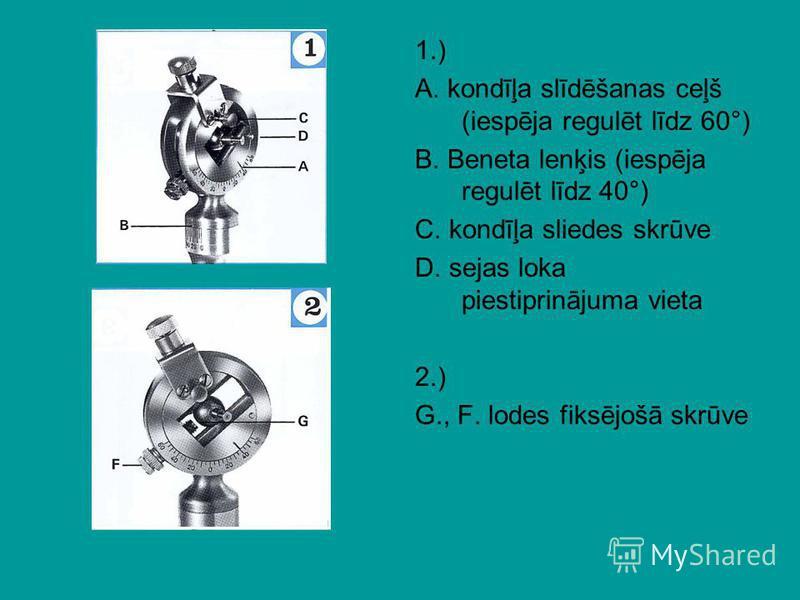 1.) A. kondīļa slīdēšanas ceļš (iespēja regulēt līdz 60°) B. Beneta lenķis (iespēja regulēt līdz 40°) C. kondīļa sliedes skrūve D. sejas loka piestiprinājuma vieta 2.) G., F. lodes fiksējošā skrūve