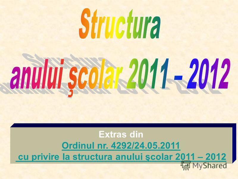Extras din Ordinul nr. 4292/24.05.2011 cu privire la structura anului şcolar 2011 – 2012
