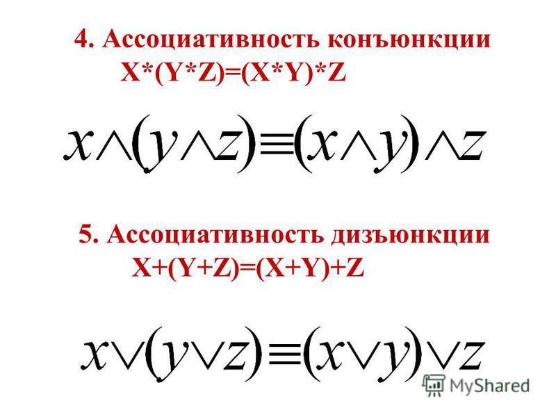 4. Ассоциативность конъюнкции X*(Y*Z)=(X*Y)*Z 5. Ассоциативность дизъюнкции X+(Y+Z)=(X+Y)+Z