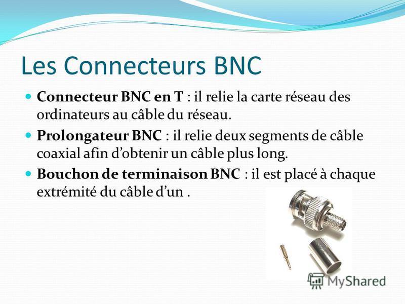 Les Connecteurs BNC Connecteur BNC en T : il relie la carte réseau des ordinateurs au câble du réseau. Prolongateur BNC : il relie deux segments de câble coaxial afin dobtenir un câble plus long. Bouchon de terminaison BNC : il est placé à chaque ext