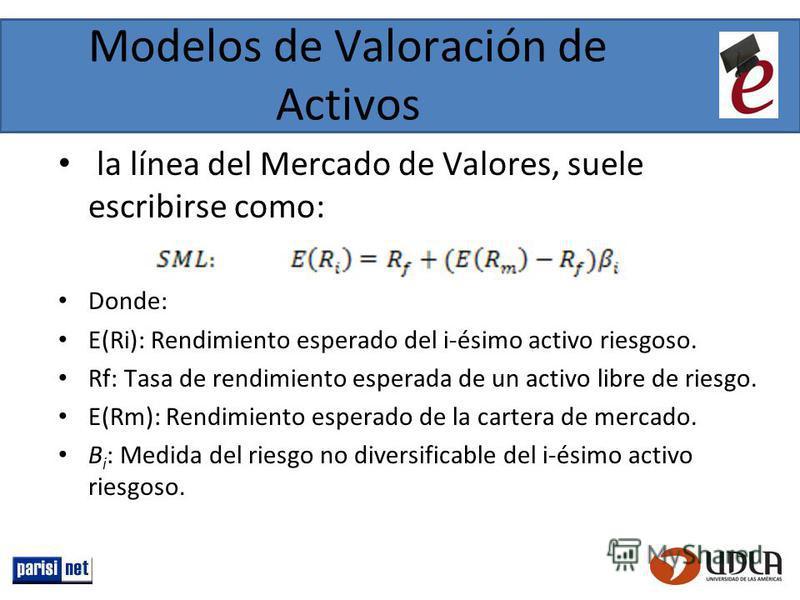 Modelos de Valoración de Activos la línea del Mercado de Valores, suele escribirse como: Donde: E(Ri): Rendimiento esperado del i-ésimo activo riesgoso. Rf: Tasa de rendimiento esperada de un activo libre de riesgo. E(Rm): Rendimiento esperado de la