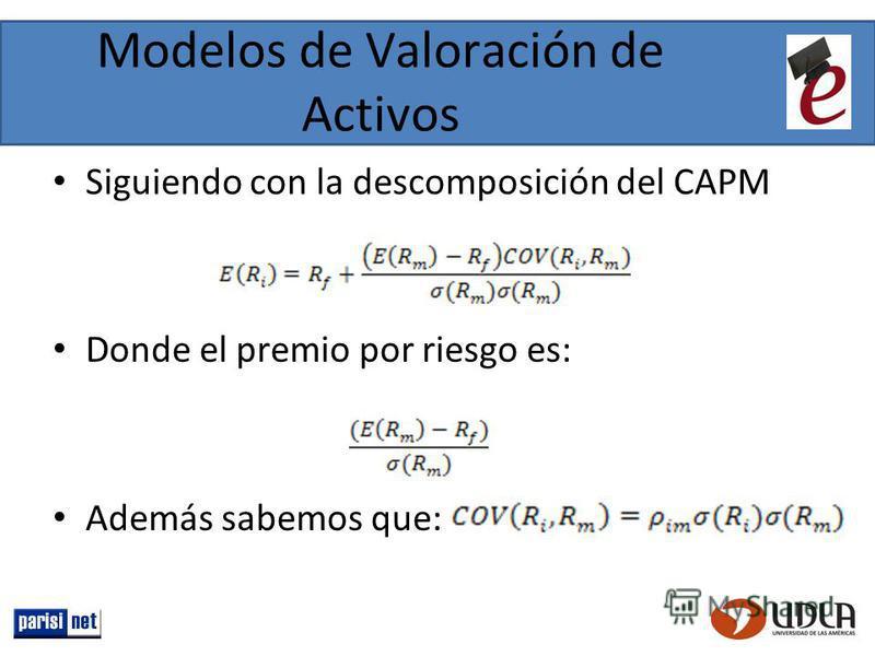 Modelos de Valoración de Activos Siguiendo con la descomposición del CAPM Donde el premio por riesgo es: Además sabemos que: