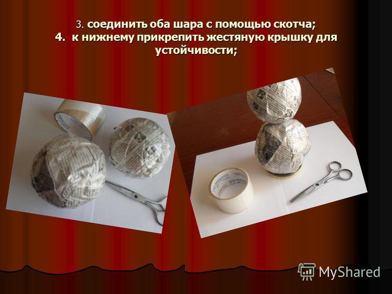 3. соединить оба шара с помощью скотча; 4. к нижнему прикрепить жестяную крышку для устойчивости;