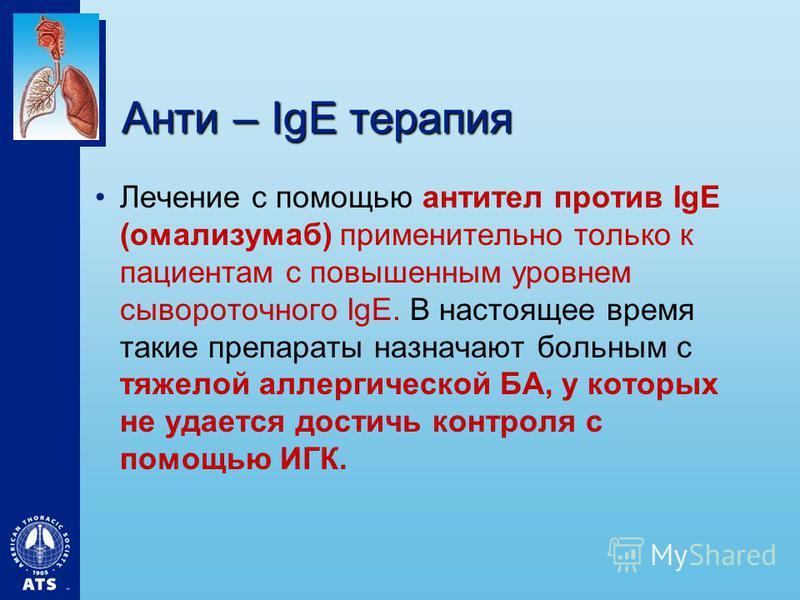 Анти – IgE терапия Лечение с помощью антител против IgE (омализумаб) применительно только к пациентам с повышенным уровнем сывороточного IgE. В настоящее время такие препараты назначают больным с тяжелой аллергической БА, у которых не удается достичь