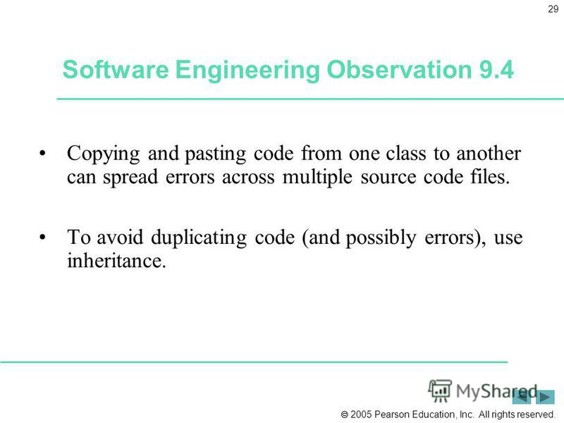 2005 Pearson Education, Inc. All rights reserved. 29 Software Engineering Observation 9.4 Copying and pasting code from one class to another can spread errors across multiple source code files. To avoid duplicating code (and possibly errors), use inh