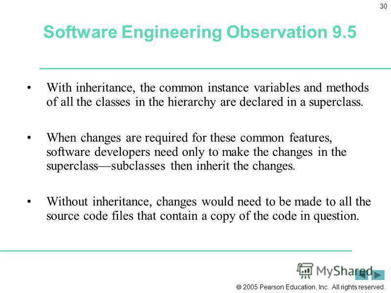 2005 Pearson Education, Inc. All rights reserved. 30 Software Engineering Observation 9.5 With inheritance, the common instance variables and methods of all the classes in the hierarchy are declared in a superclass. When changes are required for thes