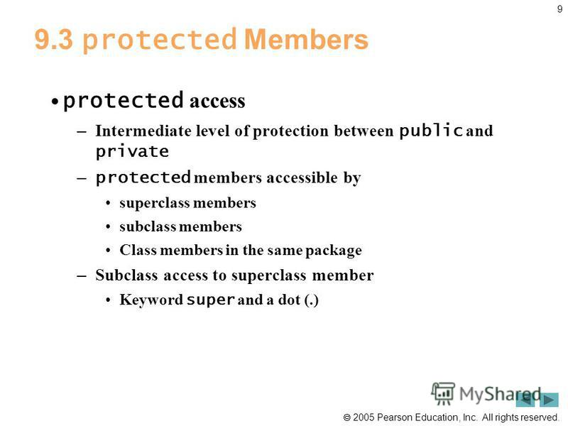 2005 Pearson Education, Inc. All rights reserved. 9 9.3 protected Members protected access – Intermediate level of protection between public and private – protected members accessible by superclass members subclass members Class members in the same p