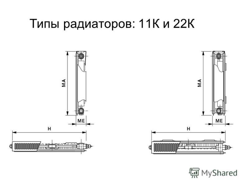 Типы радиаторов: 11К и 22К