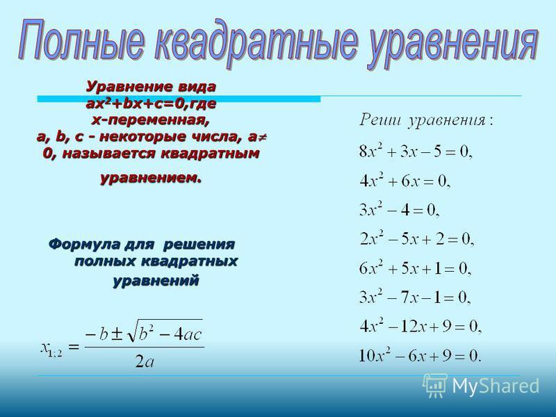 Неполные Неполные Приведенные Приведенные Полные Полные С параметром Сводящиеся к квадратным Квадратные уравнения