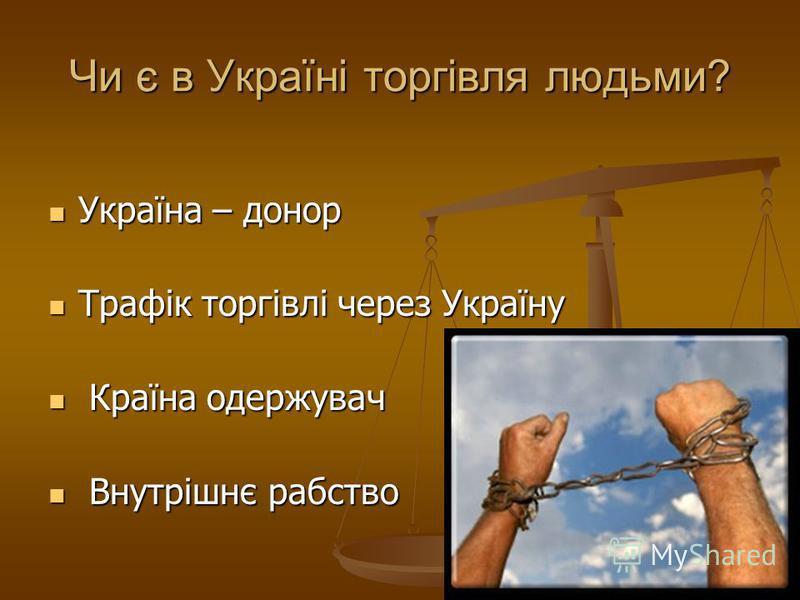 Чи є в Україні торгівля людьми? Україна – донор Україна – донор Трафік торгівлі через Україну Трафік торгівлі через Україну Країна одержувач Країна одержувач Внутрішнє рабство Внутрішнє рабство