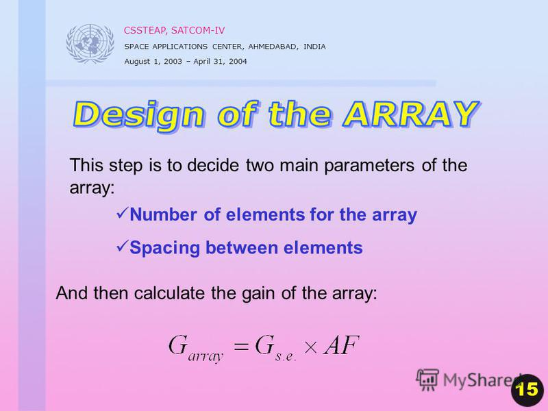 CSSTEAP, SATCOM-IV SPACE APPLICATIONS CENTER, AHMEDABAD, INDIA August 1, 2003 – April 31, 2004 This step is to decide two main parameters of the array: And then calculate the gain of the array: Number of elements for the array Spacing between element