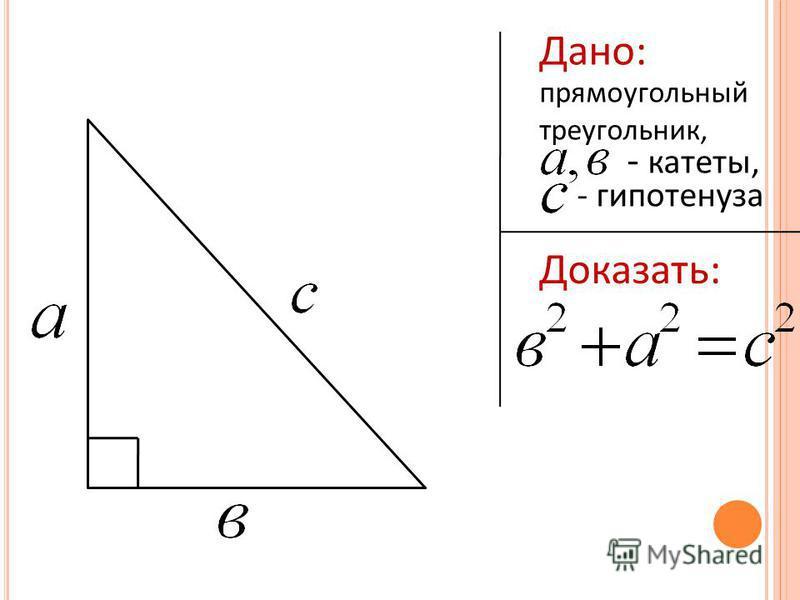 Дано: прямоугольный треугольник, - катеты, - гипотенуза Доказать: