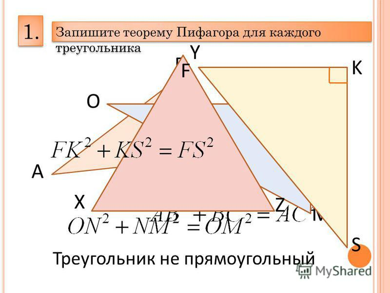 1. Запишите теорему Пифагора для каждого треугольника А В С О N M X Y Z Треугольник не прямоугольный F K S
