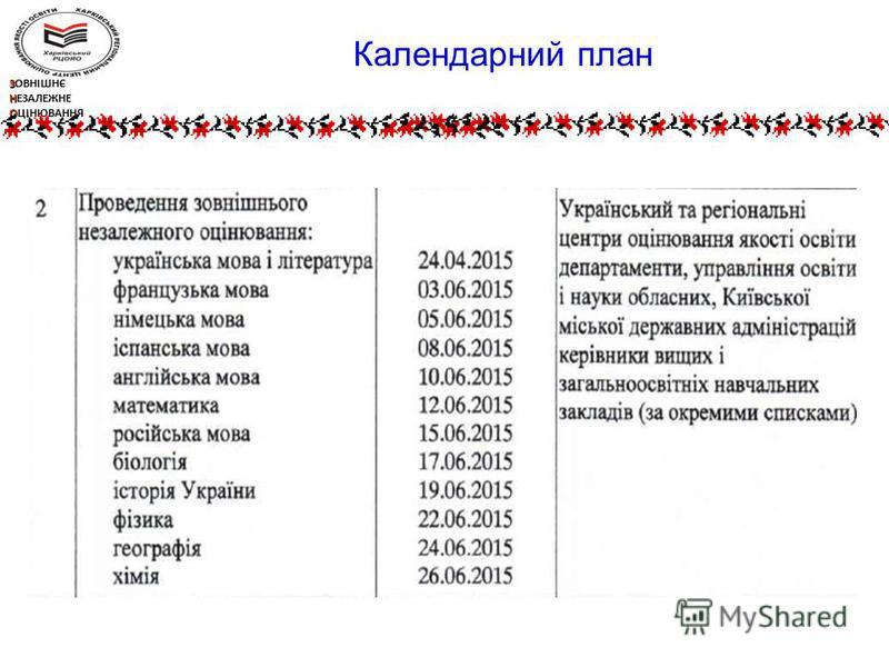 ЗОВНІШНЄ НЕЗАЛЕЖНЕ ОЦІНЮВАННЯ Календарний план