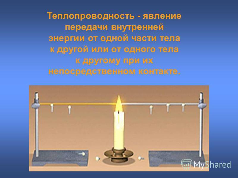 Теплопроводность - явление передачи внутренней энергии от одной части тела к другой или от одного тела к другому при их непосредственном контакте.