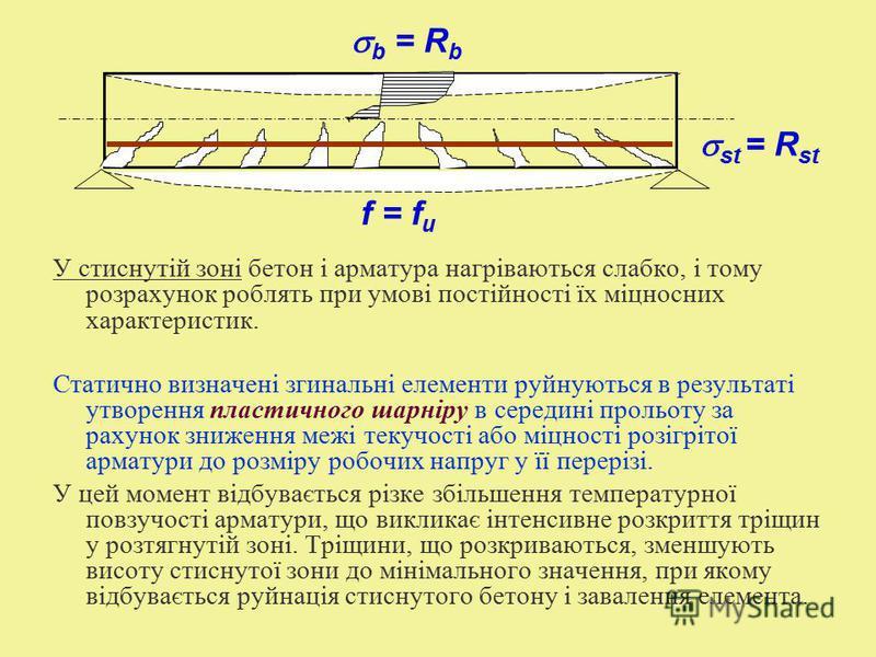 У стиснутій зоні бетон і арматура нагріваються слабко, і тому розрахунок роблять при умові постійності їх міцносних характеристик. Статично визначені згинальні елементи руйнуються в результаті утворення пластичного шарніру в середині прольоту за раху