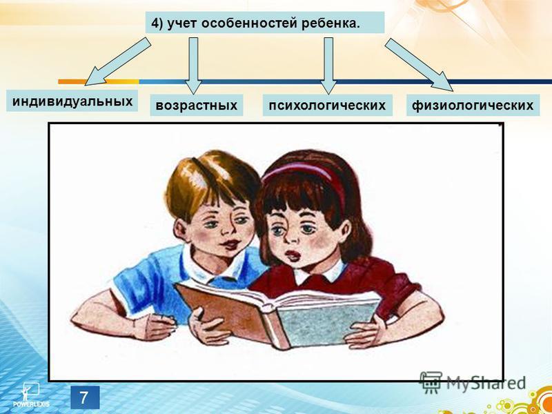 7 4) учет особенностей ребенка. индивидуальных возрастных психологических физиологических