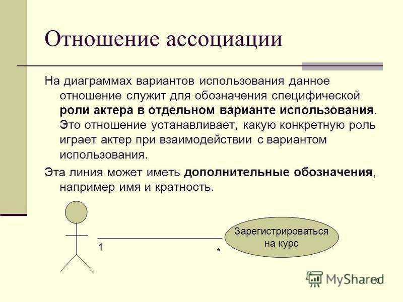 10 Отношение ассоциации На диаграммах вариантов использования данное отношение служит для обозначения специфической роли актера в отдельном варианте использования. Это отношение устанавливает, какую конкретную роль играет актер при взаимодействии с в