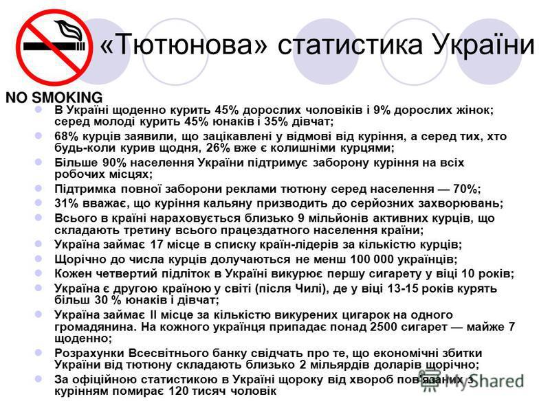 «Тютюнова» статистика України В Україні щоденно курить 45% дорослих чоловіків і 9% дорослих жінок; серед молоді курить 45% юнаків і 35% дівчат; 68% курців заявили, що зацікавлені у відмові від куріння, а серед тих, хто будь-коли курив щодня, 26% вже