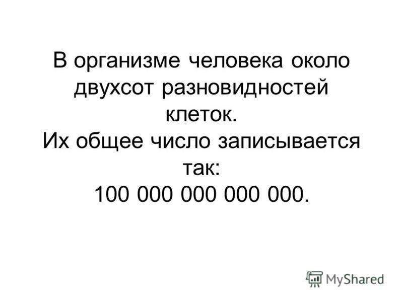 В организме человека около двухсот разновидностей клеток. Их общее число записывается так: 100 000 000 000 000.