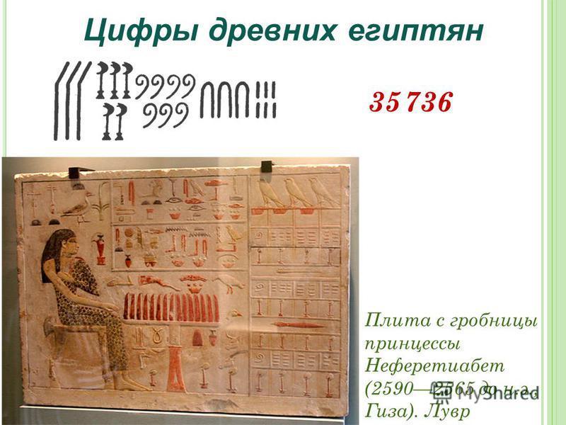 Цифры древних египтян 35 736 Плита с гробницы принцессы Неферетиабет (25902565 до н.э., Гиза). Лувр