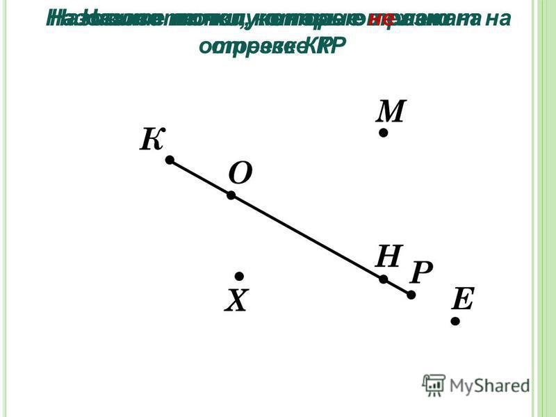 К Р Х М Н О Е Назовите полученные отрезки Назовите точки, которые лежат на отрезке КР Назовите точки, которые не лежат на отрезке КР
