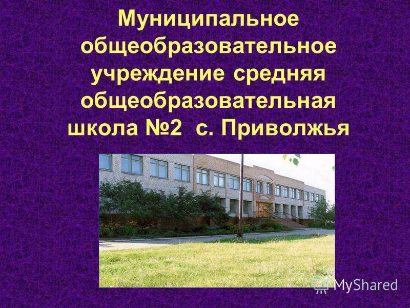 Муниципальное общеобразовательное учреждение средняя общеобразовательная школа 2 с. Приволжья