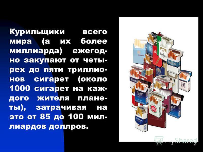 2 Курильщики всего мира (а их более миллиарда) ежегодно закупают от четырех до пяти триллионов сигарет (около 1000 сигарет на каждого жителя плане- ты), затрачивая на это от 85 до 100 миллиардов долларов.