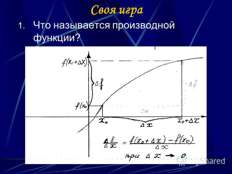 Своя игра 1. Что называется производной функции?