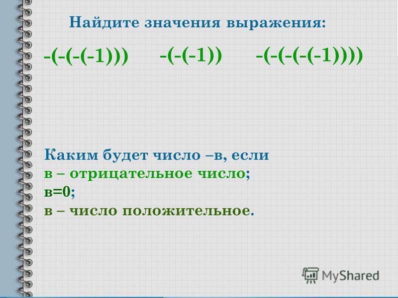 Найдите значения выражения: -(-(-(-1))) -(-(-(-(-1))))-(-(-1)) Каким будет число –в, если в – отрицательное число; в=0; в – число положительное.