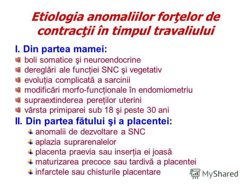 Etiologia anomaliilor forţelor de contracţii în timpul travaliului I. Din partea mamei: boli somatice şi neuroendocrine dereglări ale funcţiei SNC şi vegetativ evoluţia complicată a sarcinii modificări morfo-funcţionale în endomiometriu supraextinder