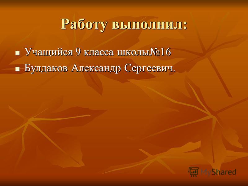 Работу выполнил: Учащийся 9 класса школы 16 Учащийся 9 класса школы 16 Булдаков Александр Сергеевич. Булдаков Александр Сергеевич.