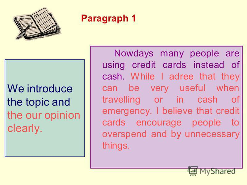 Paragraph 1 Paragraph 2 Paragraph 3 Paragraph 4 Paragraph 5 Credit Cards Should Replace Cash Nowdays many people are using credit cards instead of cash. While I adree that they can be very useful when travelling or in cash of emergency. I believe tha