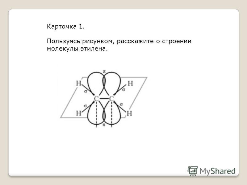 Карточка 1. Пользуясь рисунком, расскажите о строении молекулы этилена.
