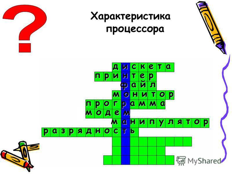 д и с к е т а п р и н т е р файл м о н и т о р п р о г р а м м а м а н и п у л я т о р разрядность Характеристика процессора м о д е м