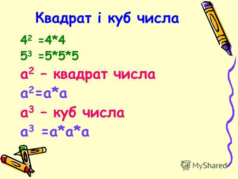 Квадрат і куб числа 4 2 =4*4 5 3 =5*5*5 а 2 – квадрат числа а 2 =а*а а 3 – куб числа а 3 =а*а*а