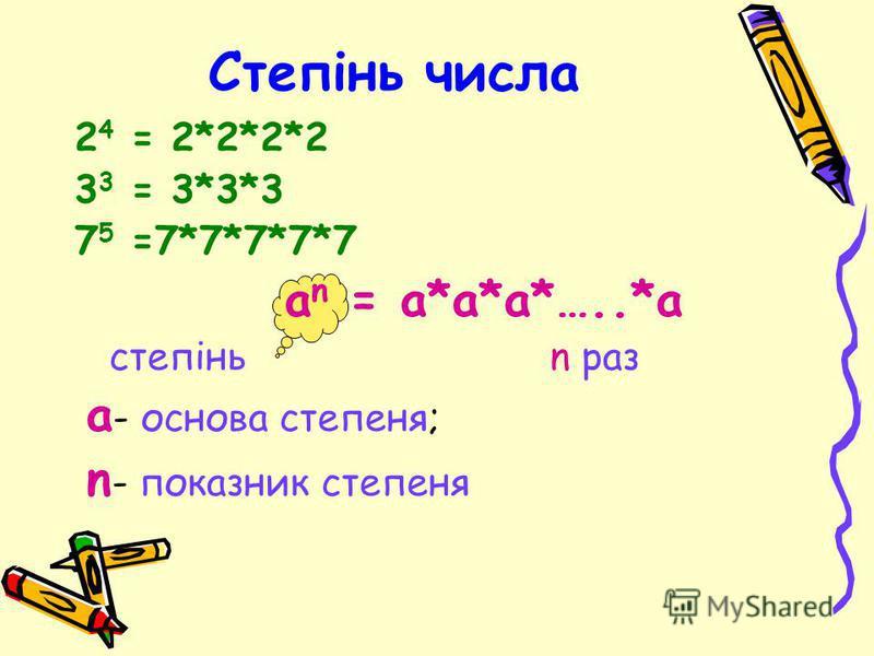 Степінь числа 2 4 = 2*2*2*2 3 3 = 3*3*3 7 5 =7*7*7*7*7 а n = а*а*а*…..*а степінь n раз а - основа степеня; n - показник степеня