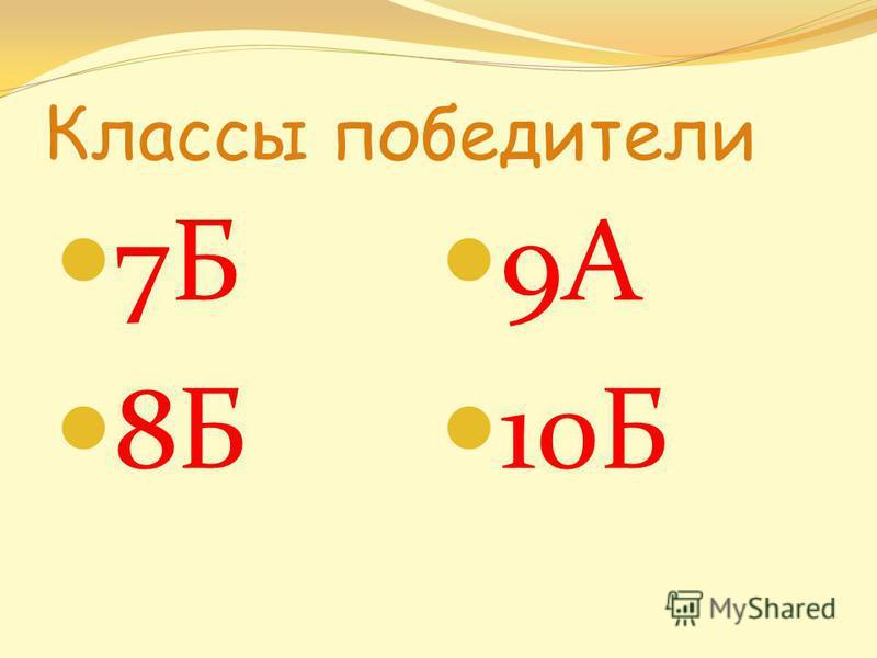 Классы победители 7Б 8Б 9А 10Б