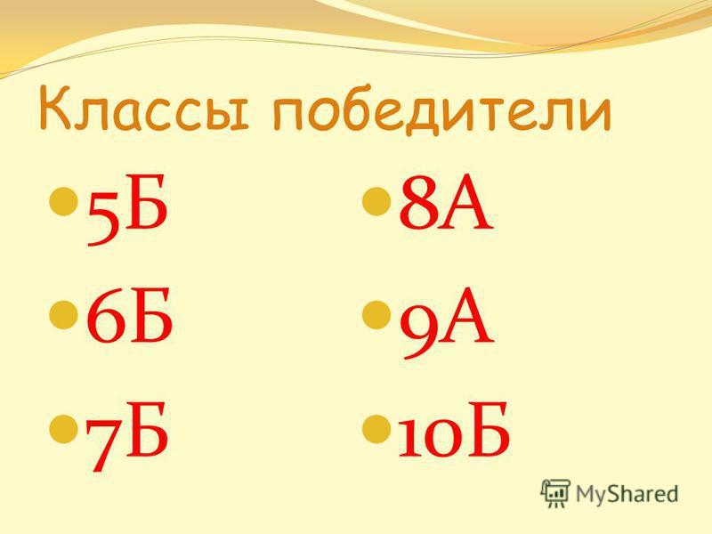 Классы победители 5Б 6Б 7Б 8А 9А 10Б