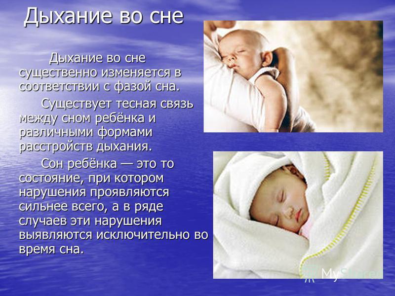 Дыхание во сне Дыхание во сне существенно изменяется в соответствии с фазой сна. Дыхание во сне существенно изменяется в соответствии с фазой сна. Существует тесная связь между сном ребёнка и различными формами расстройств дыхания. Существует тесная