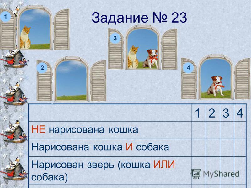 Задание 23 1234 НЕ нарисована кошка Нарисована кошка И собака Нарисован зверь (кошка ИЛИ собака) НЕ нарисован зверь 1 2 3 4