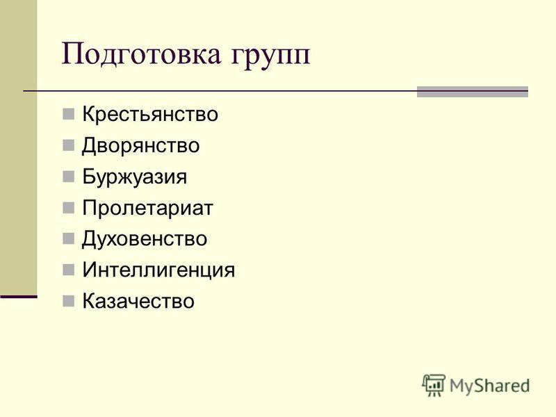 Подготовка групп Крестьянство Дворянство Буржуазия Пролетариат Духовенство Интеллигенция Казачество