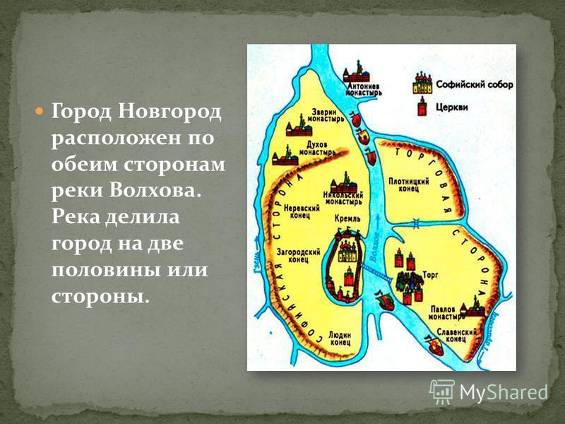 Город Новгород расположен по обеим сторонам реки Волхова. Река делила город на две половины или стороны.