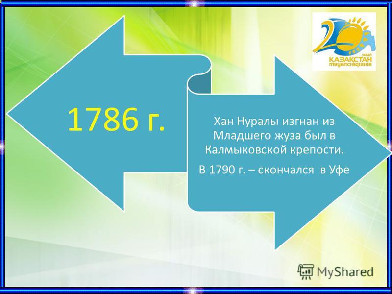 1786 г. Хан Нуралы изгнан из Младшего жуза был в Калмыковской крепости. В 1790 г. – скончался в Уфе