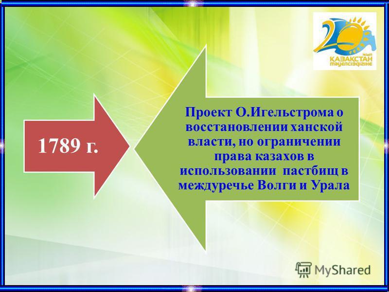1789 г. Проект О.Игельстрома о восстановлении ханской власти, но ограничении права казахов в использовании пастбищ в междуречье Волги и Урала