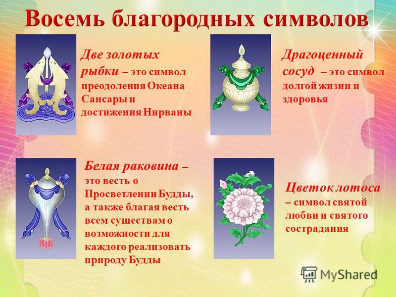 Две золотых рыбки – это символ преодоления Океана Сансары и достижения Нирваны Драгоценный сосуд – это символ долгой жизни и здоровья Белая раковина – это весть о Просветлении Будды, а также благая весть всем существам о возможности для каждого реали