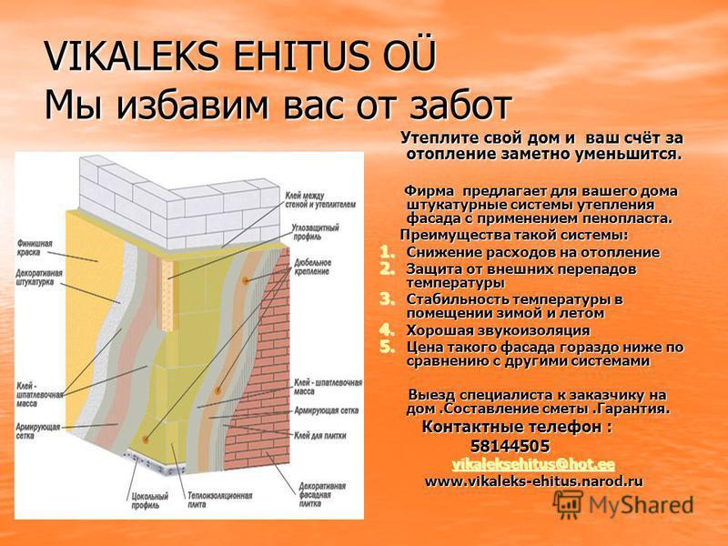 VIKALEKS EHITUS OÜ Мы избавим вас от забот Утеплите свой дом и ваш счёт за отопление заметно уменьшится. Утеплите свой дом и ваш счёт за отопление заметно уменьшится. Фирма предлагает для вашего дома штукатурные системы утепления фасада с применением