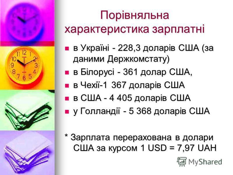 Порівняльна характеристика зарплатні Порівняльна характеристика зарплатні в Україні - 228,3 доларів США (за даними Держкомстату) в Україні - 228,3 доларів США (за даними Держкомстату) в Білорусі - 361 долар США, в Білорусі - 361 долар США, в Чехії-1